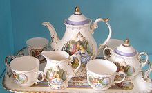 Fashion classical rustic ceramic colored drawing coffee tea set romantic