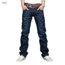 New Designer Korea Men's Jeans Slim Fit Classic denim Jeans Trousers Straight Leg Blue Size 30~34 Button Wholesale 12(China (Mainland))