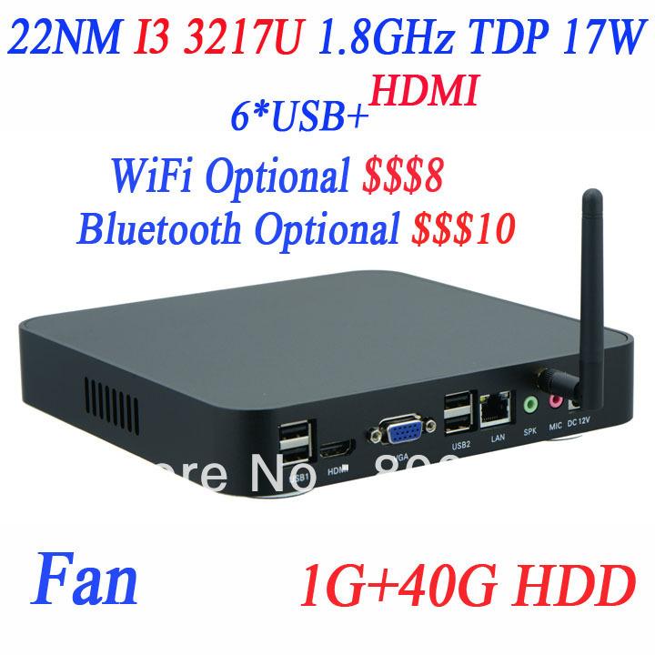 Small PC ITX Terminal INCTEL I3 3217u 1.8Ghz support PXE Linux Ubuntu Windows High Performance 1G RAM 40G HDD(China (Mainland))