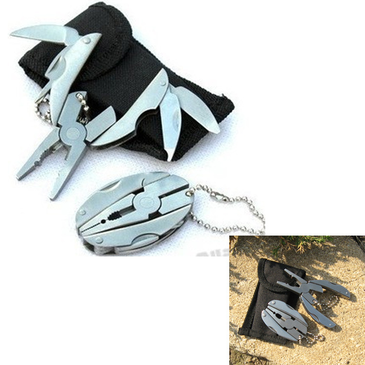 Folding Pocket Tools Plier Knife screwdriver keychain + case set survival camping equipment outdoor multi function fishing tool - BevoLink store