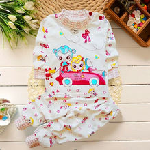 Children pure cotton round neck shoulder buckle underwear suit baby boys and girls Qiuyiqiuku baby underwear  0~2 old(China (Mainland))