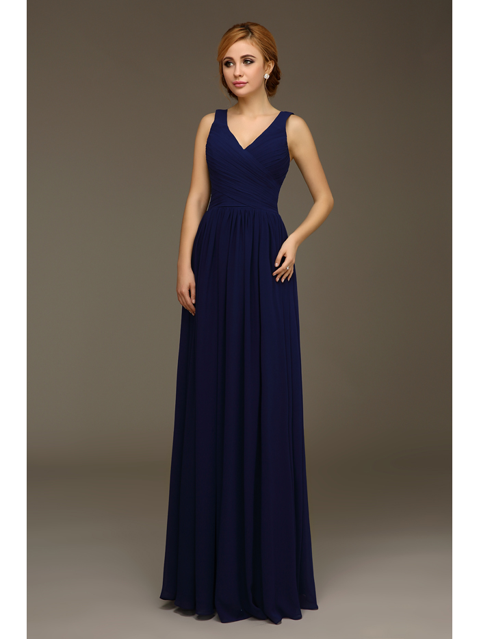 Long navy blue a line formal wedding bridesmaid dresses for Cheap wedding guest dresses