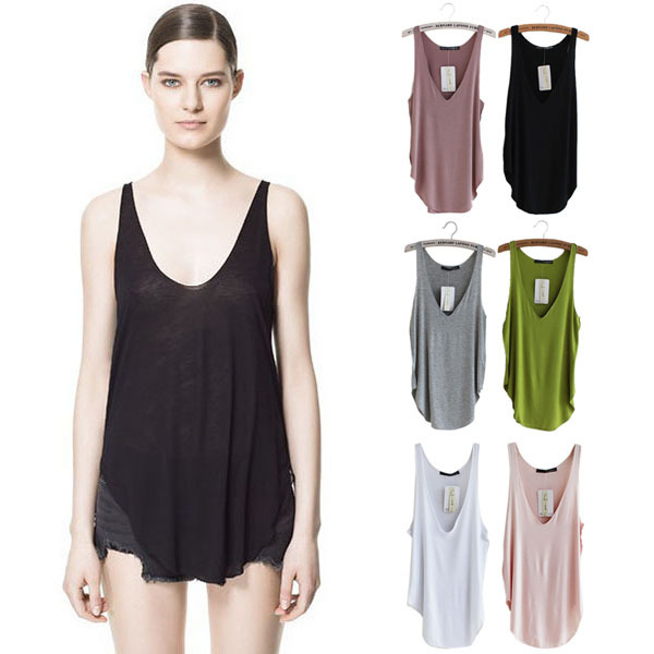 Korean Lady Girls Modal V Neck Vest Sleeveless Shirt Tank Tops Tees T shirt(China (Mainland))