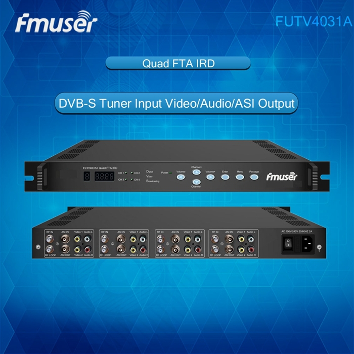 FUTV4031A Quad FTA IRD Satellite Receiver 4 DVB-S RF Input ASI In ASI Output AV Out with Demodulating Decoding(China (Mainland))
