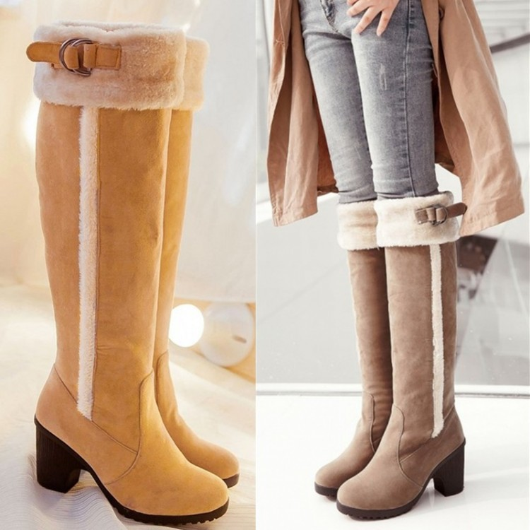 Free Ship New 2014 Womens Fashion Winter Faux Suede Pull Block High Heel Buckle Flock Knee Riding Boots Plus Size