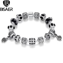 BISAER Vintage Black European Style Silver Plated  Charm Bracelets With Murano Glass Beads Handmade Silver jewelry Gift BI1396(China (Mainland))