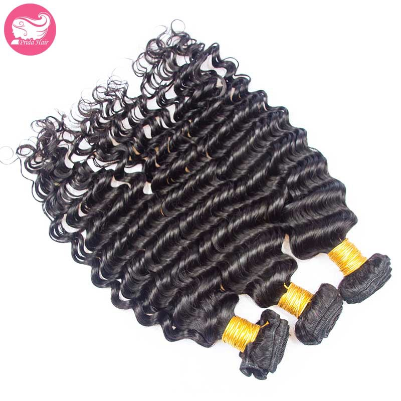Cheap Natural Color Mongolian Deep Wave Virgin Hair Bundles 3PCS/Lot Human Virgin Mongolian Hair Weft Weave Extensions Deep Curl<br><br>Aliexpress