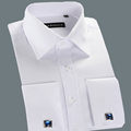 High Quality Designer White French Cuff Dress Shirt Classical Long Sleeve Mens Shirt Slim Fit Brand