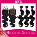 Peruvian Virgin Hair Body Wave 3 Bundles With Closure Peruvian Body Wave Hair Bundles With Lace