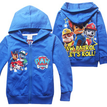 Paw Patrol Fashion winter cartoon Ziper Sweatshirts girls boys clothing cotton kids casual hoodies1 pcs(China (Mainland))