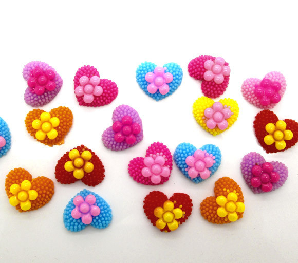 100 Mixed Heart With Flower Beads Cabochon Scrapbook Fit Phone Embellishments