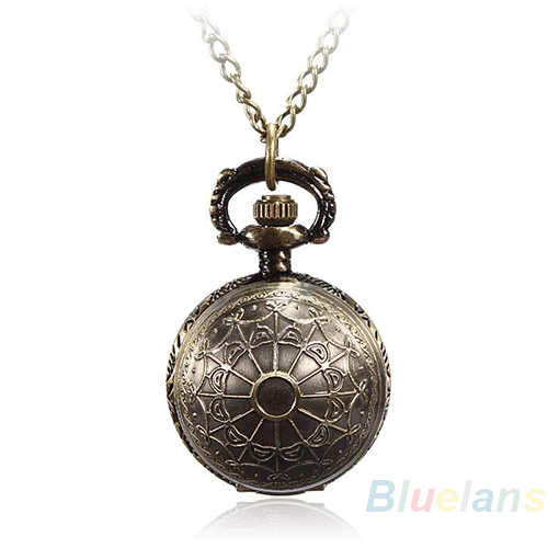 5 Colors Antique Retro Vintage Ball Metal Steampunk Quartz Necklace Pendant Chain Small Pocket Watch For