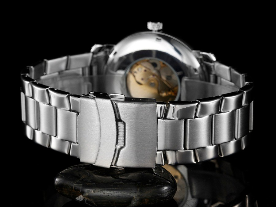GOER марка Моды мужской наручные часы Световой цифровой Skeleto Нержавеющей Стали спортивные мужские часы Техника автоматического Водонепроницаемый