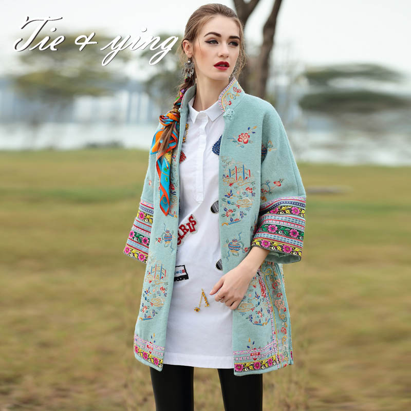 High-end women vintage royal embroidery women winter trench coat  Euroupean  runway  3/4 sleeve  puls size floral coat  femaleОдежда и ак�е��уары<br><br><br>Aliexpress