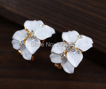 Новый горячий гардении серьги белый / черный цветок серьги для женщин мода ювелирные ...