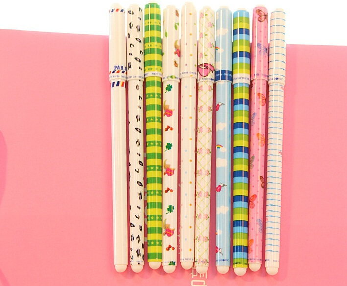 New 10 pcs/set happy day gel ink pen / Fashion pen with PVC packaging/DIY zakka Office material school supplies/wholesale