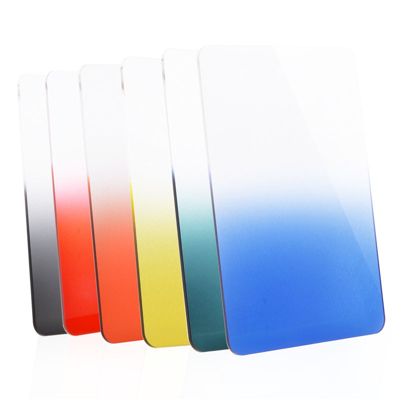 NEW Camera Filter 100*140mm Graduated Blue Green Yellow Orange Grey Red Square Color Filter for Lee and Cokin Z-Pro Holders