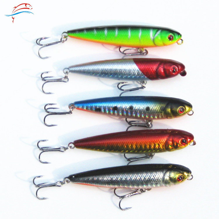 5pcs/lot Minnow Fishing Lure 8cm/9g Minow Pencil Skitter Wobbler Fishing Lure Isca Artificial Plastic Hard Bait With Treble Hook(China (Mainland))