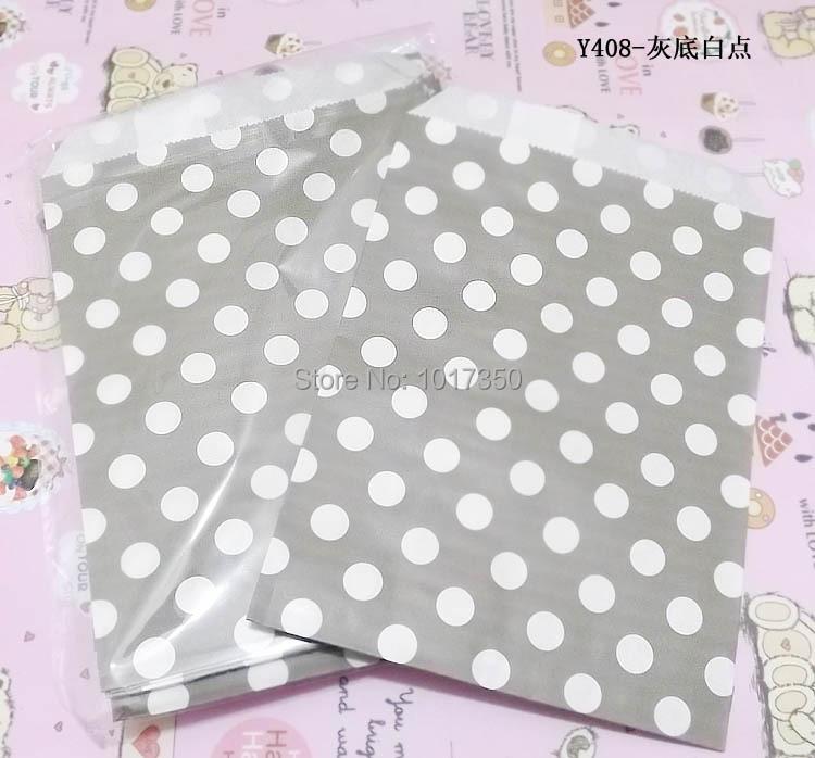 Grey white polka dots wedding Party Favor Paper Bag Treat Candy Snack Cake Bag Bakery Bag Popcorn Bags Free Shipping 50pcs(China (Mainland))