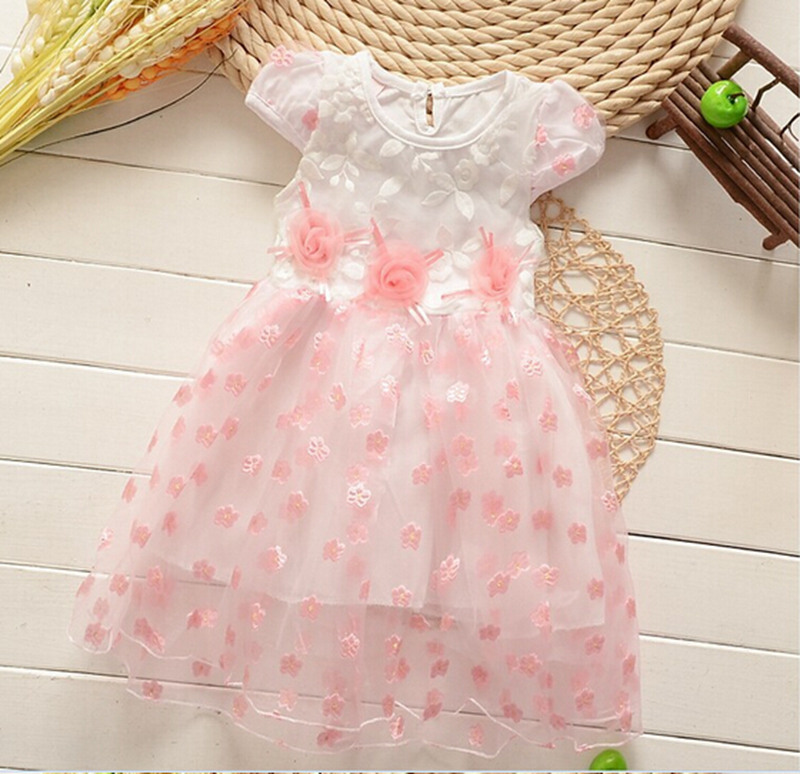 2015 New Summer Baby Girl Dress Lovely Princess Party Dresses Sweet Children's Dresses Net Yarn Ball Gown(China (Mainland))
