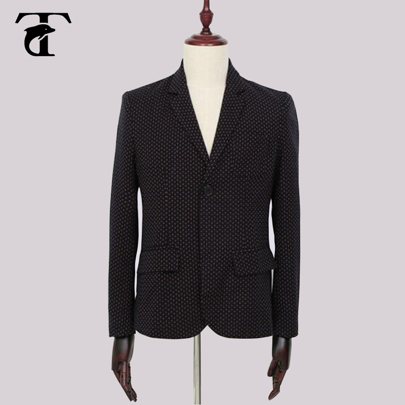 brand clothing blazer men high quality fashion casual jacket black masculino slim fit designer comfort dot dot blazer men suit(China (Mainland))
