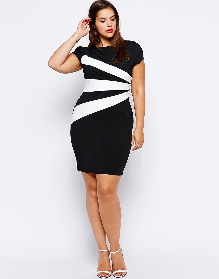 2015 hot sale women casual pencil dress plus size business dress white and black patchwork contrast color in front(China (Mainland))