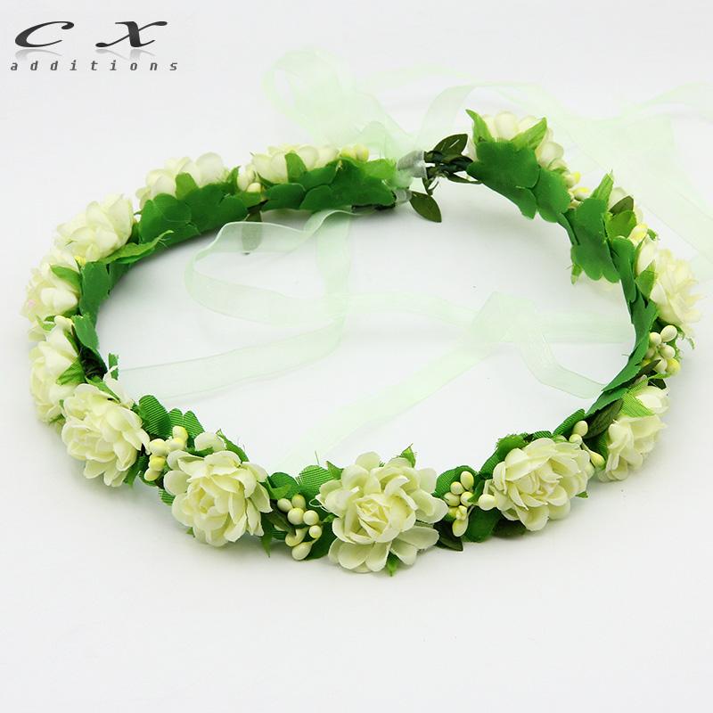 Bohemian Wreath Flower Crown Wedding Garland Forehead Hair Head Band Rustic circlet Woodland halo Bridal headpiece BerrySimple(China (Mainland))