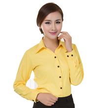 Blouses Shirts 2016 Office Lady Work Wear Plus Size Long Sleeve Cotton Basic Shirts Formal Women Blouses Tops Blusas Femininas