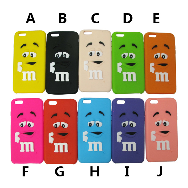 50pcs/lot For iphone 6 6plus 3D Soft silicone cute M&M Chocolate colorful Rainbow Beans phone case cartoon cover phone case