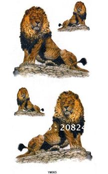 New ! Wholesale 10 pcs/ lot Nontoxic and Tasteless Waterproof Men Body Lions Sticker Temporary Tattooing YM065