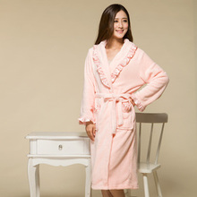 winter women long robe warm fleece lady peignoir homecoat girls negligee dressing gown free shipping(China (Mainland))