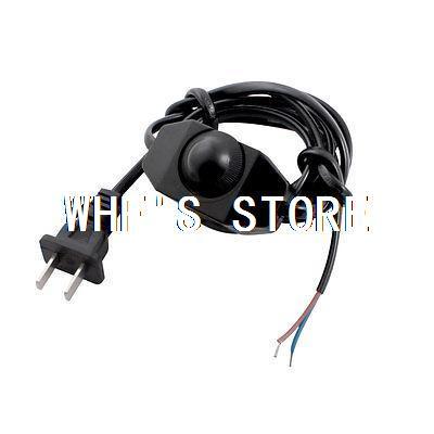 2 x Black 1.8Meter Lamp Power Cord Swivel Dimmer Switch AC 250V/110V US Plug(China (Mainland))