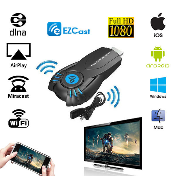 Ez cast android stick Miracast Mirror cast Dongle hdmi wifi build-in 1080P Ipush Better than google chromecast chrome cast(China (Mainland))
