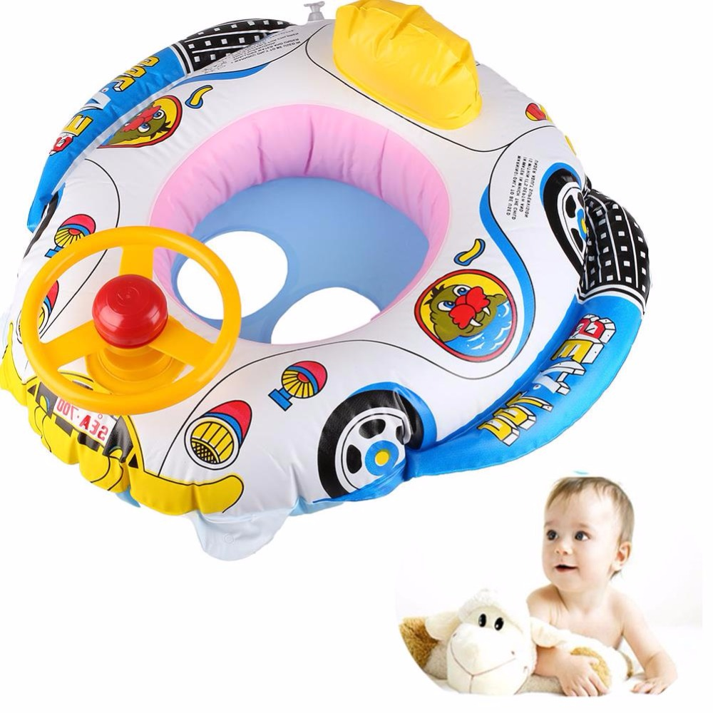 Peradix Baby Inflatable Pool Swim Float Boat Infant Chair Swimming Aid Trainer With Wheel Horn(China (Mainland))