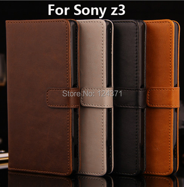 2014 New Mobile Phone Case Leather Case For Sony Xperia Z3 D6653 L55T, Luxury Wallet Stand Credit card holders case for sony Z3(China (Mainland))