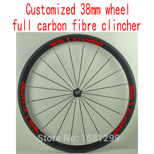 1pcs 700C customized 38mm clincher rims road Track Fixed Gear bike aero 3K UD 12K full carbon fibre bicycle wheelsets Free ship(China (Mainland))