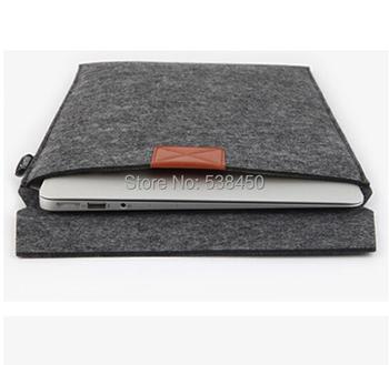 """Бесплатная доставка темно-серый шерстяные чувствовал конверт ноутбука сумка чехол кожи для MacBook Pro 11 """" 13 """" 15 """""""