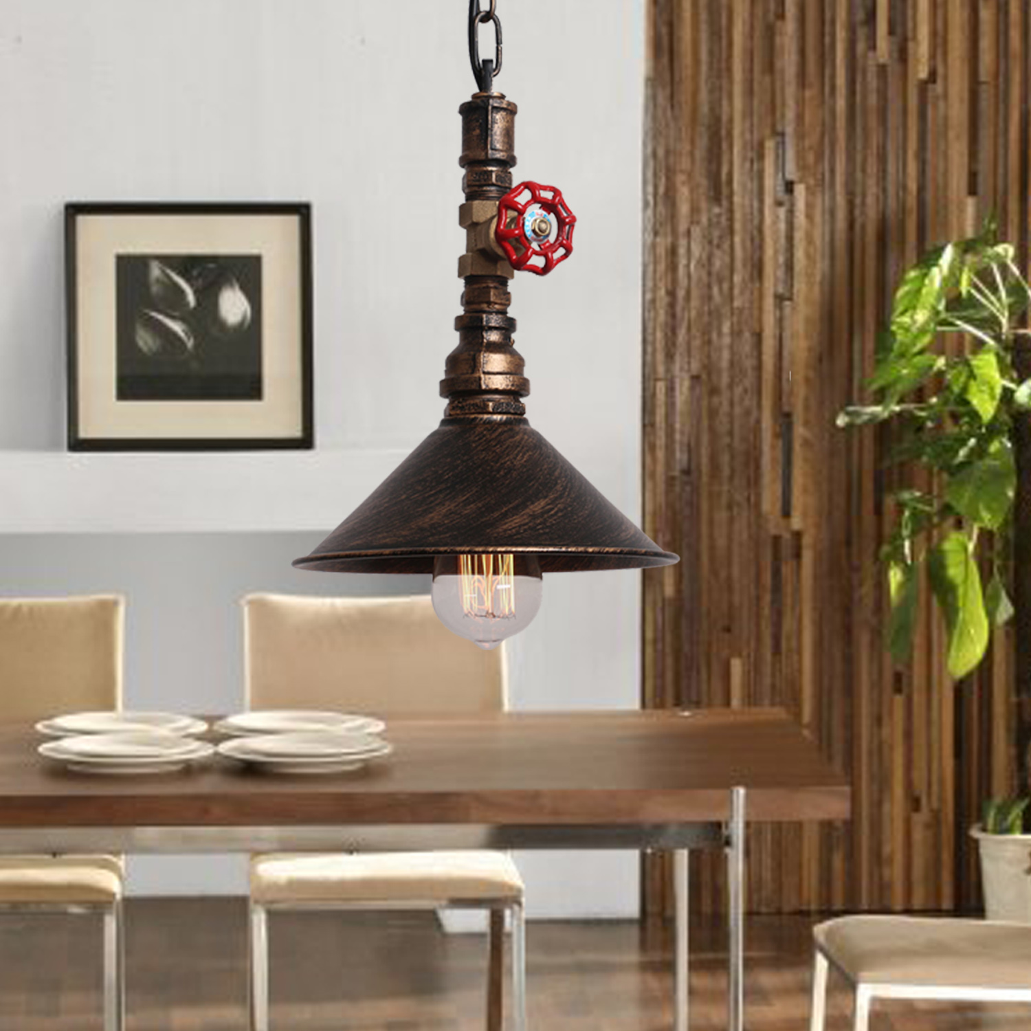 Rustic Industrial Pendant Lights Vintage Lamp Suspension Luminaire Water Pipe Chain Hanging light E27 220v For Decor Loft Lamp(China (Mainland))
