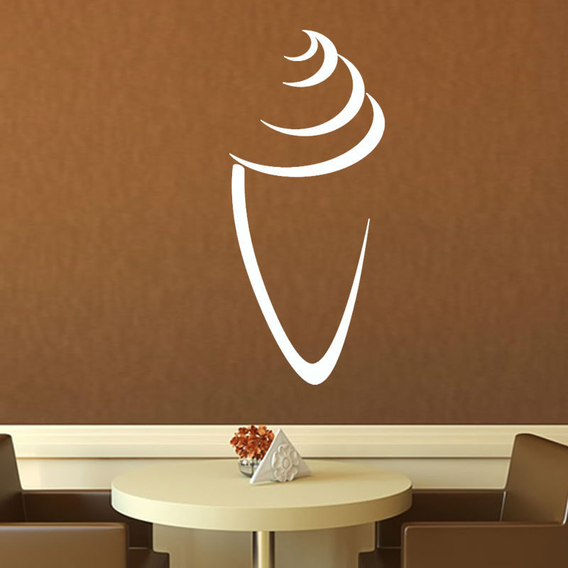 Simple Lounge Home Decor White Ice Cream Cone Outline Wall Sticker DIY Waterproof Removable Vinyl Decal