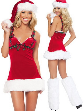 Free Shipping Hot Sale Sexy Christmas Costumes Women Red Sexy Santa Claus Costume 4FFC080(China (Mainland))