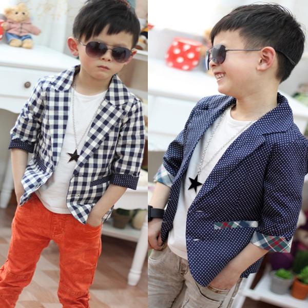 Kids Baby Boys font b Plaids b font Check Dots Casual Suit Jacket Coat Costume Children