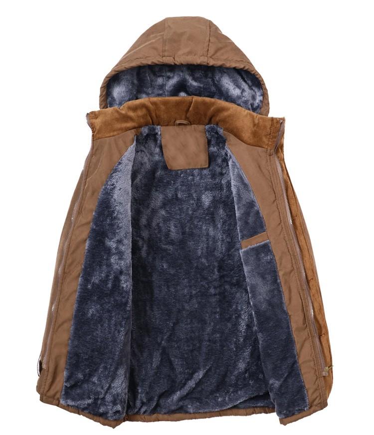 Скидки на Зимняя мода повседневная более толстый тонкий мужчины парки хлопка мягкой молнии куртка с шерсти балахон