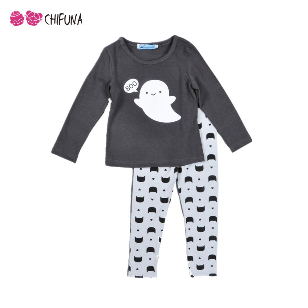 2016 Girls Clothing Set Long Sleeved Baby Girl Clothes Lovely Ghost Pattern T-shirt+ Pant Suit Cotton Baby Girl Clothes Baby Set(China (Mainland))