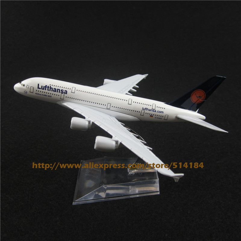 16cm Alloy Metal German Air Lufthansa Airlines Airbus 380 A380 Airways Plane Model Aircraft Airplane Model w Stand Toy Gift(China (Mainland))