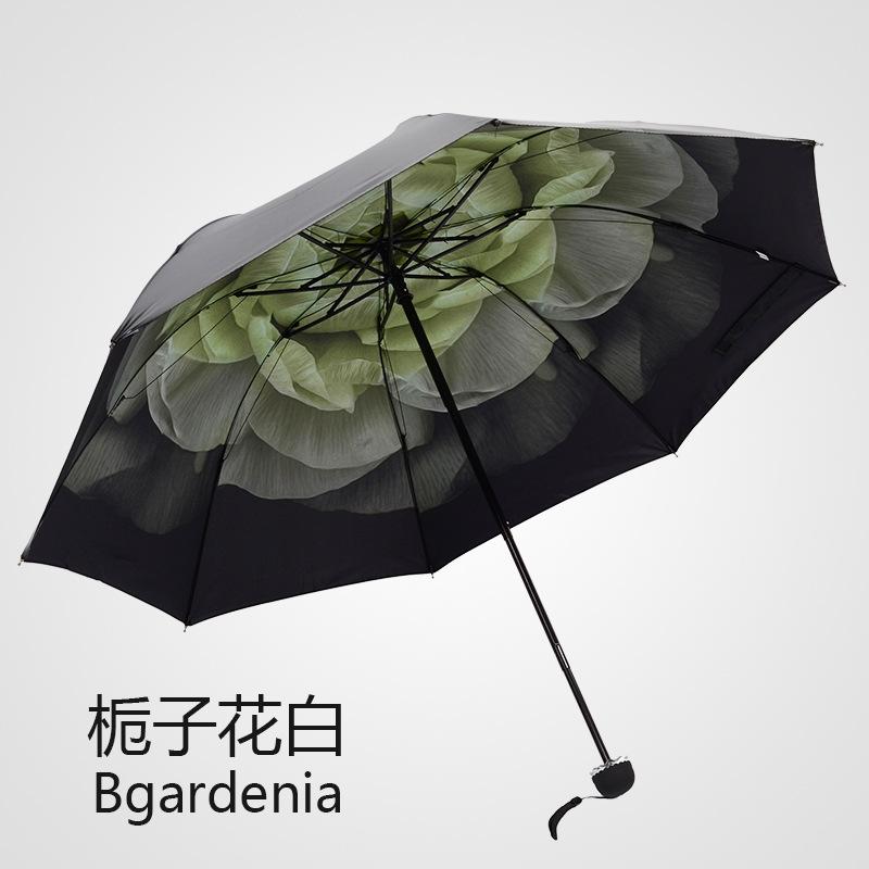 new Folding Korea creative rubber umbrella female sunscreen Oil Painting Romantic 3 Folding Classic Anti-uv Sun Rain Umbrella(China (Mainland))