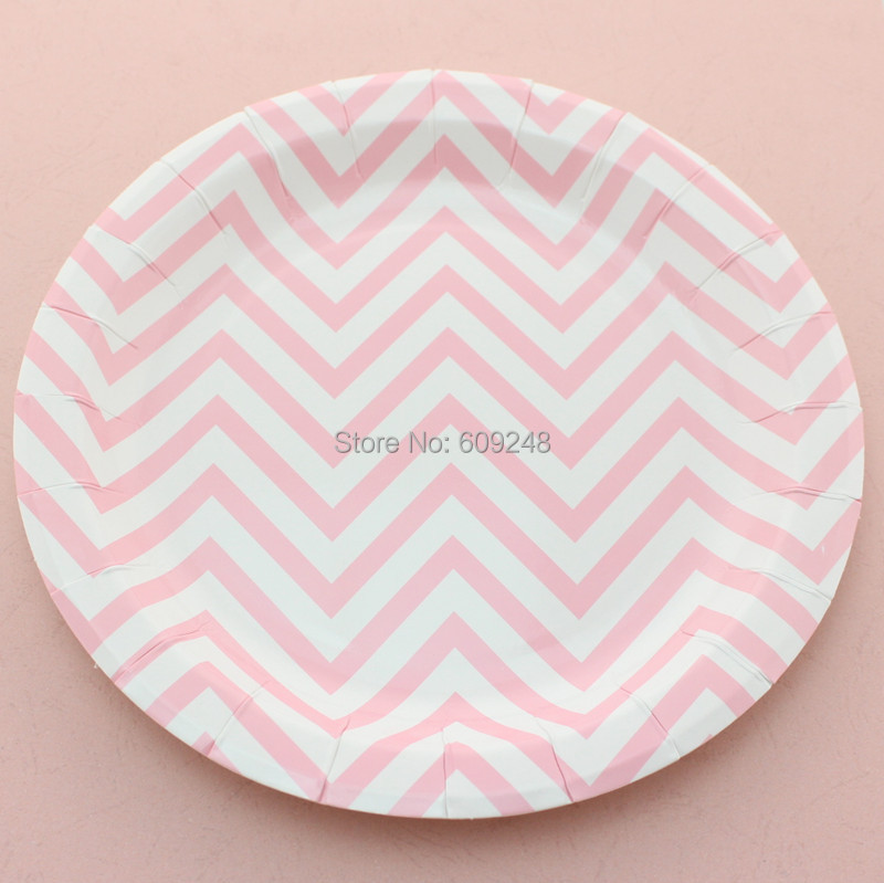 "24pcs 9"" Pink Chevron Dessert Paper Plates Round,Personalized Dinner Dishes Bulk Birthday Wedding Baby Shower Holiday Party(China (Mainland))"