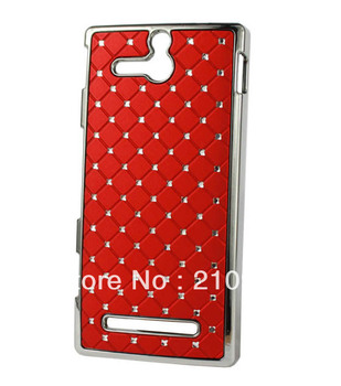 mini order 1 pcs  red/hot pink Deluxe Reinestone Bling Hard Case Cove with Diamond For Sony Xperia U St25i Case, free shipping