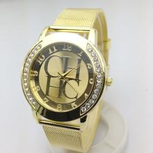 Famous Brand Gold Geneva Crystal Quartz Watch Women Metal Mesh Stainless Steel Wristwatches Relogio Feminino montre Clock Hot