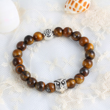 2016 Fashion Jewelry Natural Stone Bead Bracelet Antique Silver Plated Amber Owl Bracelet Women Pulseira Masculina Men Jewelry