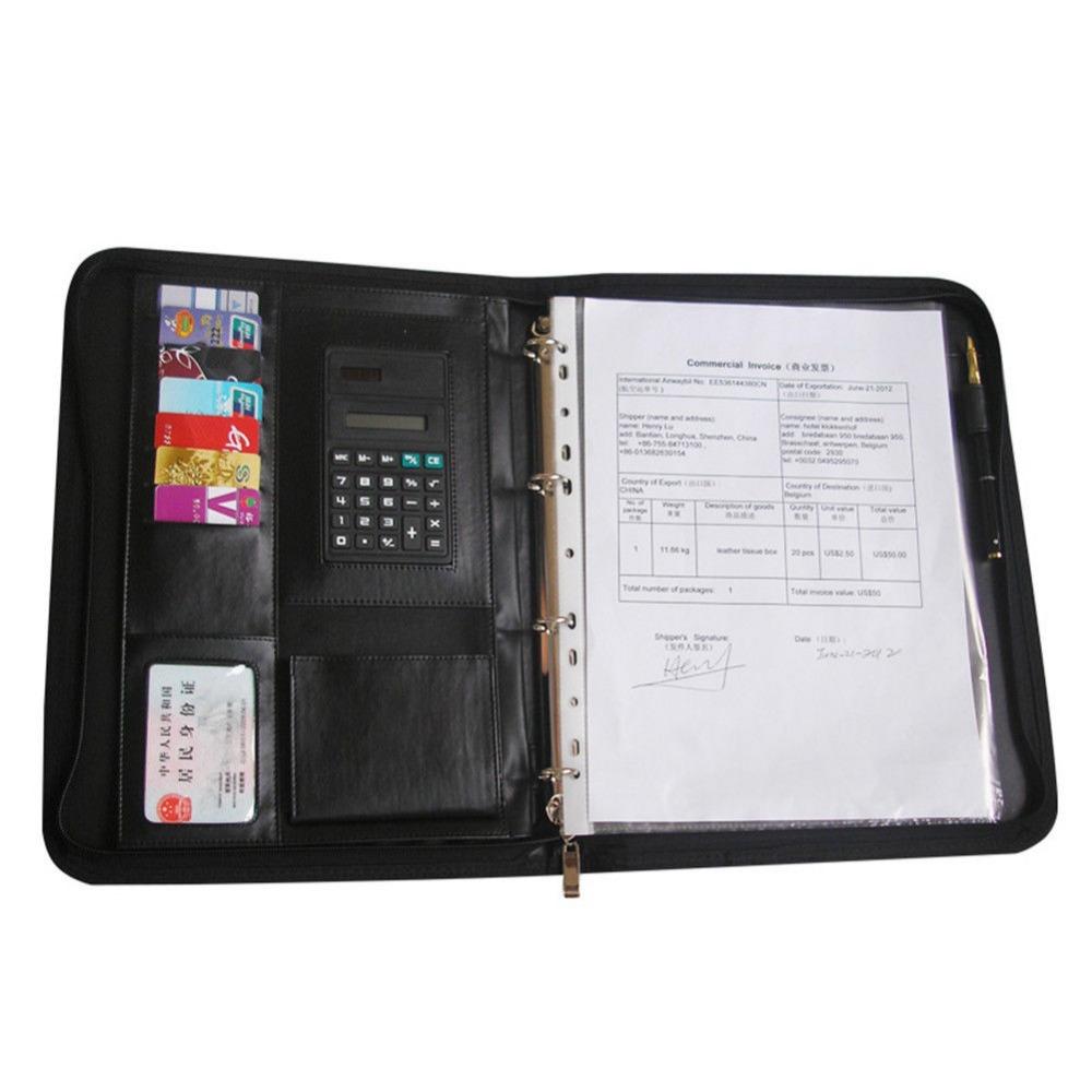 ever perfect a4 zipper bag leather file document folder ring binder holder with card pen holder. Black Bedroom Furniture Sets. Home Design Ideas